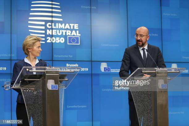 After midnight press conference at European Council from President of the European Council Charles Michel and European Commission President Ursula...