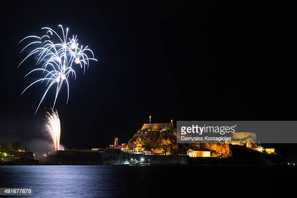 After midnight when Christianity celebrates the ressurection of Christ there are fireworks over the Old Fort in Corfu.