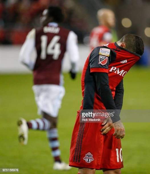 After missing his free kick Toronto FC forward Sebastian Giovinco is unhappy with himself Toronto FC vs Colorado Rapids in CONCACAF matchup during...