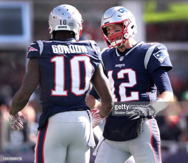 After New England Patriots wide receiver Josh Gordon picked up 19 yards on a third quarter catch and run he gets a word and a hand from quarterback...