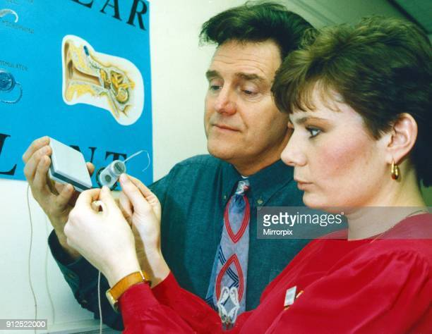 After opening a new unit for the heard of hearing at North Riding Infirmary Alvin Stardust is shown one of the cochlear implants by Lisa Aubert...