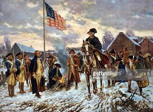 After painting by Edward P Moran Revolutionary War 17751783 Washington at Valley Forge Pennsylvania l December 1777 the site he chose for the winter...