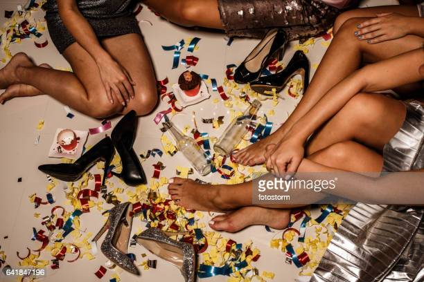 after party mess - ladies' night stock pictures, royalty-free photos & images