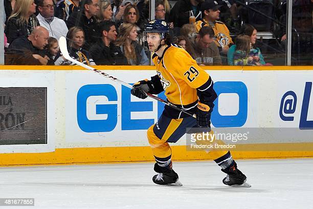 After playing 387 minor league games thirtyyear old Mark Van Guilder of the Nashville Predators skates in his first career NHL game against the...