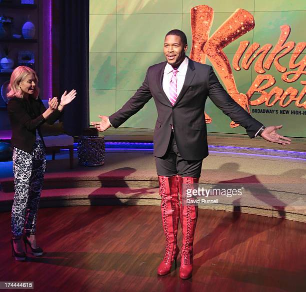 MICHAEL 7/25/13 After recapping his return to Broadway in the Tony Awardwinning musical Kinky Boots host Michael Strahan modeled his own custom pair...