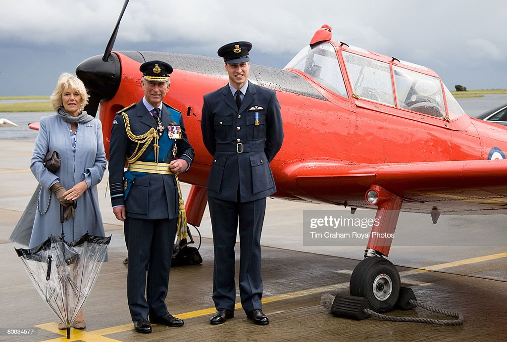 After receiving his RAF wings in a graduation ceremony, Prince William joins his father, The Prince of Wales, Air Chief Marshal, and Camilla, Duchess of Cornwall for a tour of the aircraft at the Central Flying School at RAF Cranwell. The red Chipmonk plane was the one in which Prince Charles learned to fly during the sixties, in Sleaford on April 11, 2008 in Lincolnshire, England.
