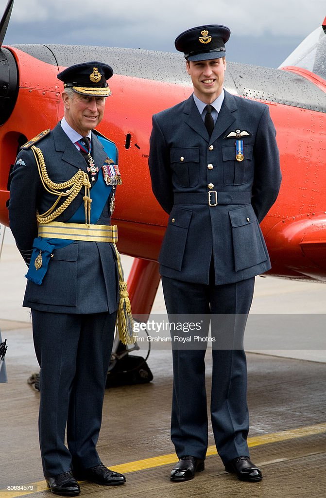 After receiving his RAF wings in a graduation ceremony, Prince William joins his father, The Prince of Wales, Air Chief Marshal, for a tour of the aircraft at the Central Flying School at RAF Cranwell. The red Chipmonk plane was the one in which Prince Charles learned to fly during the sixties, in Sleaford on April 11, 2008 in Lincolnshire, England.