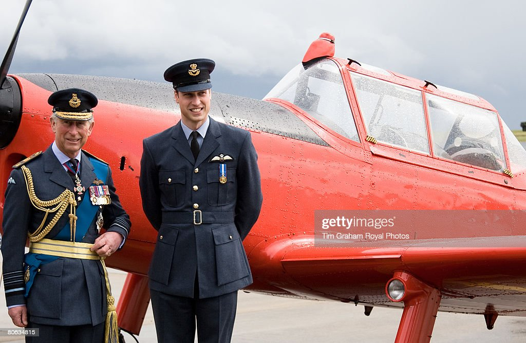 After receiving his RAF wings in a graduation ceremony Prince William joins his father, The Prince of Wales, Air Chief Marshal, for a tour of the aircraft at the Central Flying School at RAF Cranwell. The red Chipmonk plane was the one in which Prince Charles learned to fly during the sixties, in Sleaford on April 11, 2008 in Lincolnshire, England.