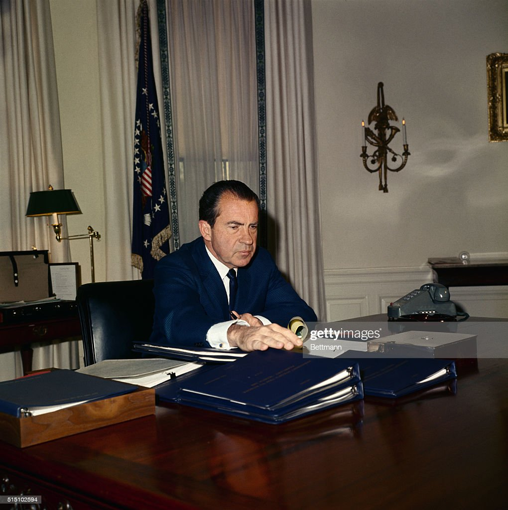 nixon office. After Returning From The Presidential Retreat At Camp David, Md. 2/16, Nixon Office L