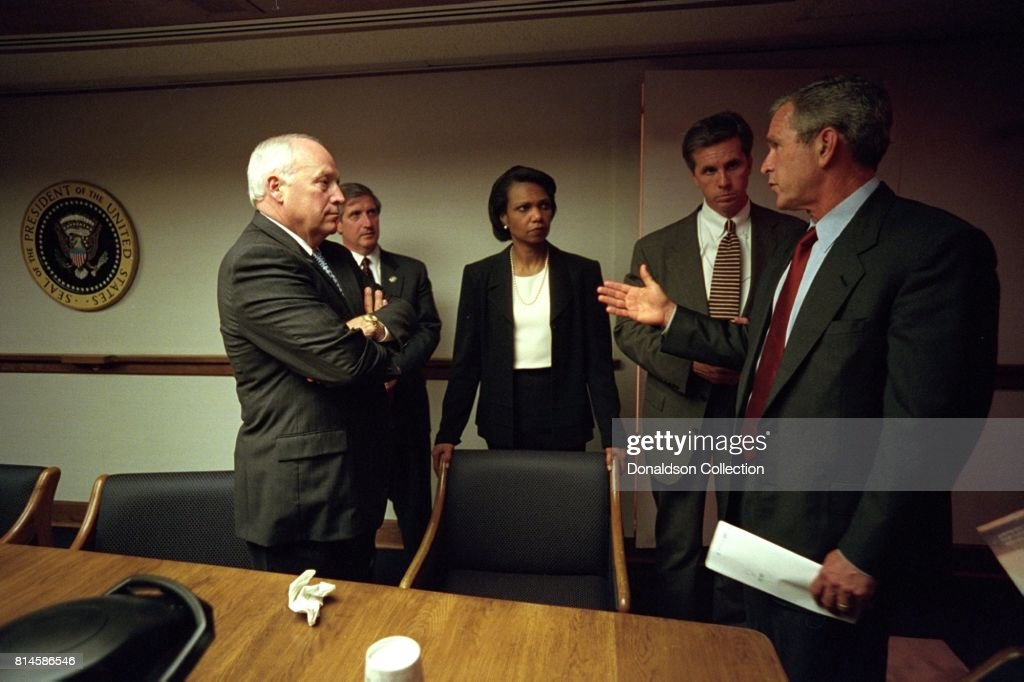 After returning to the White House, President George W. Bush meets with from left: Vice President Dick Cheney; Chief of Staff Andy Card; Condoleezza Rice, National Security Adviser, and Special Agent Carl Truscott of the U.S. Secret Service in the Presidential Emergency Operations Center of the White House. Photo by Eric Draper, Courtesy of the George W. Bush Presidential Library/Getty Images