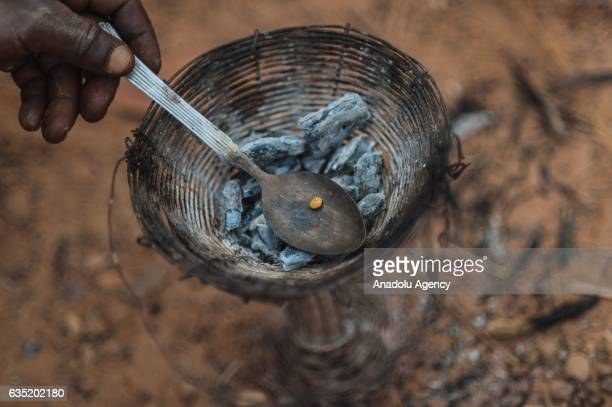 After separating from the sand the gold is piled up in small silver stones even with remnants of mercury around it during gold mining production in...