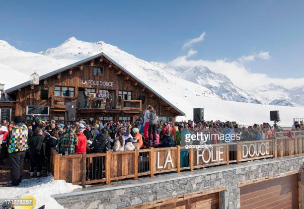 apres ski in france - meribel stock photos and pictures