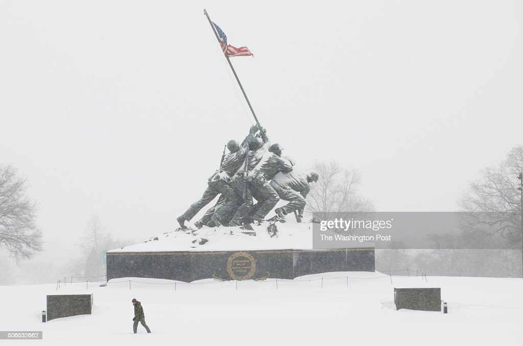 After snow shot of Marine Corp War Memorial, aka Iwo Jima Memorial in Arlington, VA on January 23, 2016. The storm is expected to bring up to two feet in the DC metro area by Sunday.