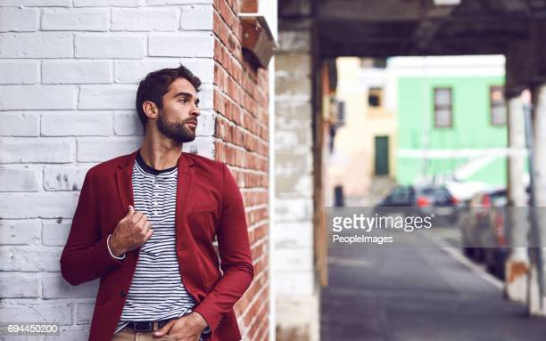 after some time you become part of the city - men fashion stock photos and pictures