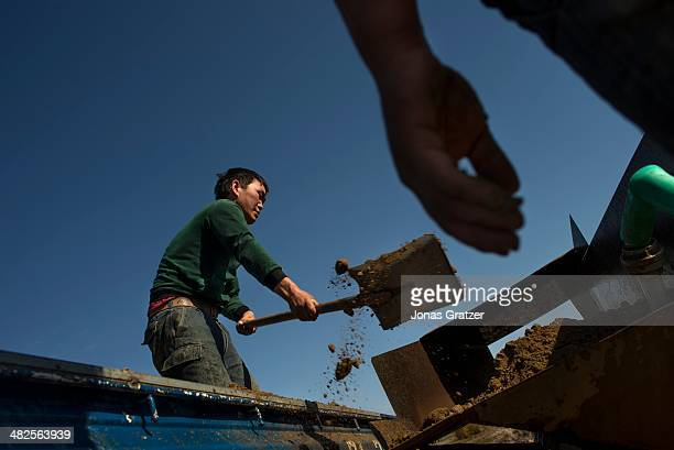 After spending hours in the narrow passages underground in the Sharygol district in Mongolia, these workers work to pan through the soil and rock...