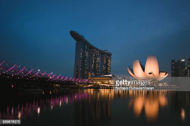 After sunset scene of Marina Bay