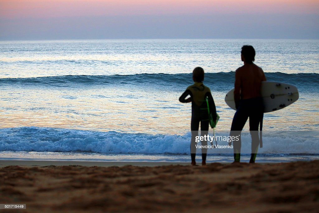 After surfing on sunset : Stock Photo
