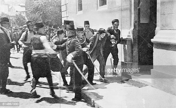After swallowing a cyanide pill which only made him sick Gavrilo Princip was dragged from an angry crowd and arrested for shooting Austrian Archduke...