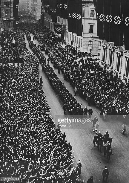 After the Anschluss the 15th Austrian Infantry Regiment parading on the streets of Berlin welcomed by the cheering crowd March 1938