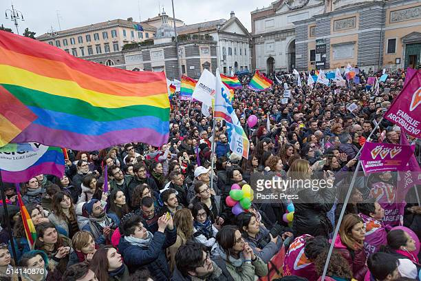 After the approval of the bill Cirinnà thousands of supporters of same sex civil unions demonstrate at Piazza del Popolo in Rome to legalize civil...
