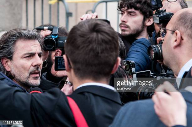 After the arrest of the president of the courtroom Giulio Cesare Marcello De Vito the M5s municipal councillor Pietro Calabrese issues statements to...