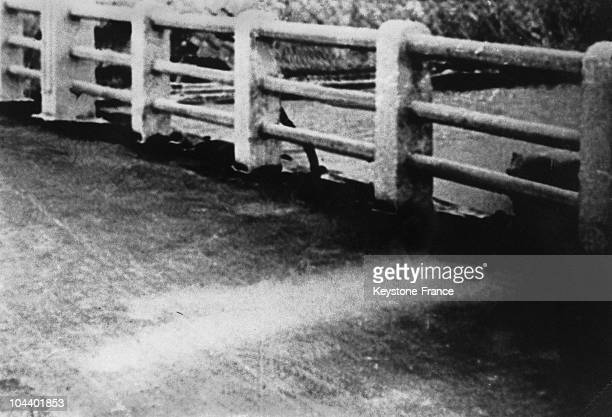 After the atomic bomb explosion on August 6 1945 in Hiroshima the white shadow of a man who escaped radiation remains on the surface of a bridge The...