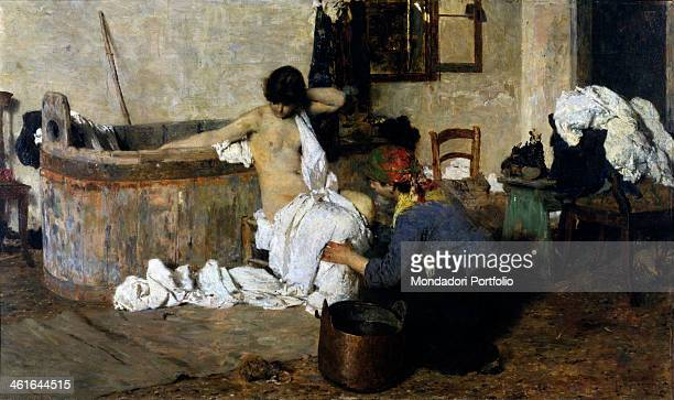 After the Bath by Giacomo Favretto 19th Century oil on canvas 55 x 96 cm Italy Lazio Rome National Gallery of Modern and Contemporary Art GNAM Whole...