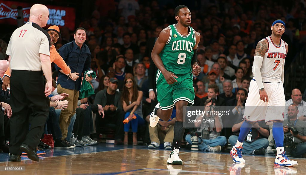 After the Celtics Jeff Green hit s big three pointer to put Boston ahead 88-76, Knicks super fan Spike Lee, left, has something to say to referee Joey Crawford, while the Knicks Carmelo Anthony is not too happy at far right. The Boston Celtics visited the New York Knicks for Game Five of their NBA Eastern Conference Quarterfinal Series, at Madison Square Garden.