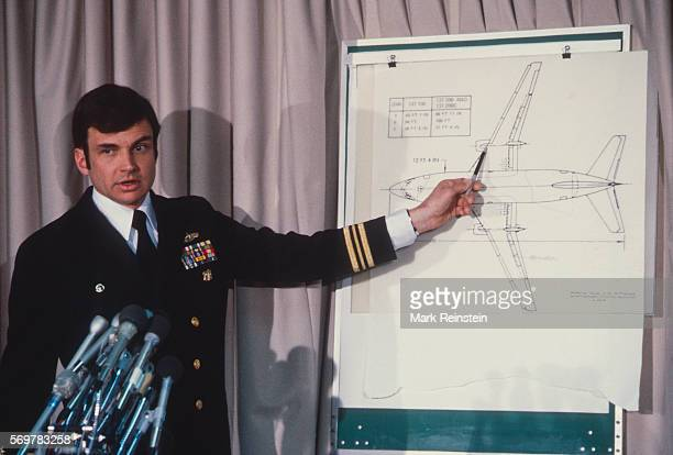 After the crash of Air Florida Flight 90 US Navy Lieutenant Commander Steven W Delaplane briefs the press about the Navy's salvage efforts Washington...
