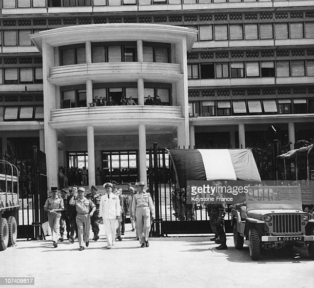 After The Creation Of The Public Salute Committee The Generaus Salans And Jouhaud Leave The Palace Of The General Government On May 1St 1958