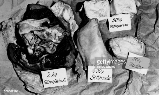 After the end of the war in 1945 Police photo of smuggled groceries like meat lard butter and margarine Photo Berliner Verlag/Archiv