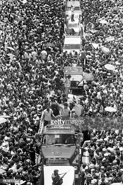After the fall of former dictator Anastasio Somoza Sandinistas arrive in Managua and are greeted by the population