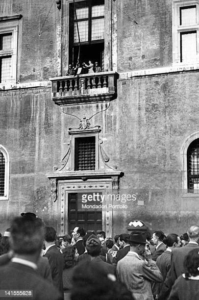 After the fall of Mussolini an Italian flag is hoisted on the balcony of Palazzo Venezia Rome 26th July 1943
