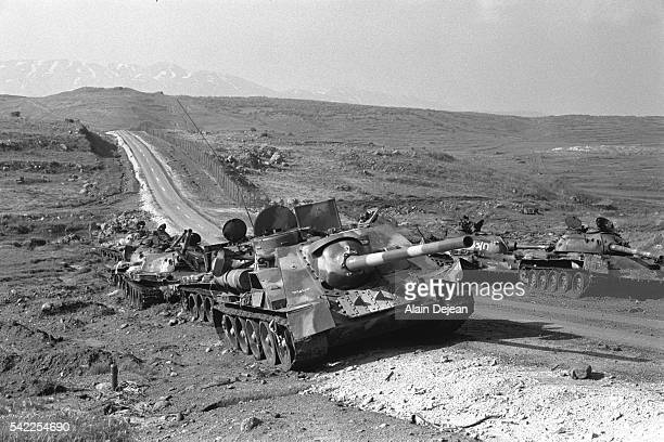 After the fighting in October 1973 remains of Syrian tanks destroyed by the Israeli Air Force