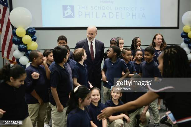 After the forum students had the change to take group pictures with the Republican and Democratic candidate incumbent Tom Wolf pictured here at the...