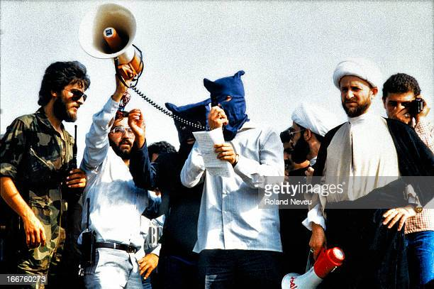 After the hijack of the TWA flight in Beirut hezbullah hijackers make a declaration during a demonstration of followers in South Beirut