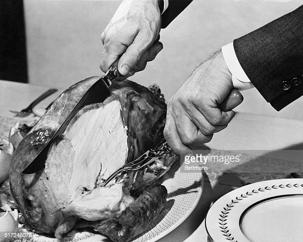 1955 After the horizontal cut is made slice downward with straight even strokes beginning halfway up the breast When the knife reaches cut above the...