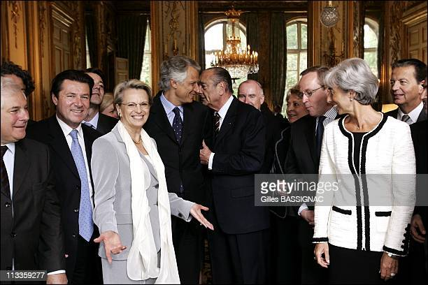 After The Last Council Of Ministers At The Elysee Palace French President Jacques Chirac Invits All The Members Of Dominique De Villepin'S Government...