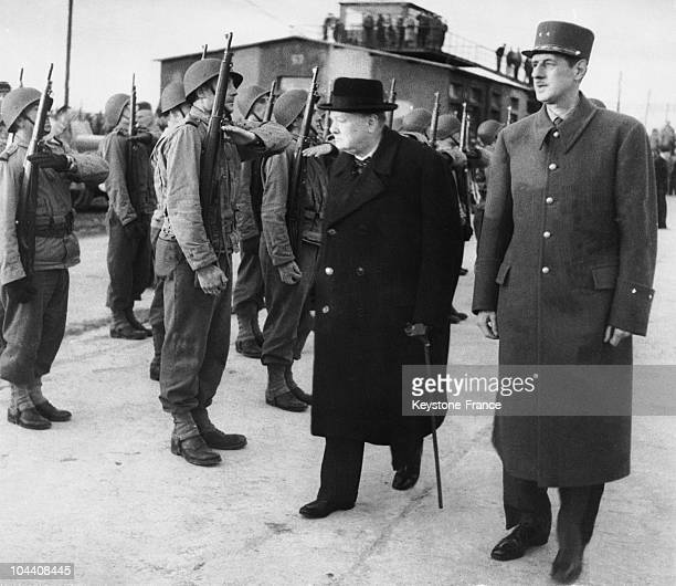 After the liberation of Paris Winston CHURCHILL and General DE GAULLE are reviewing a soldiers' troop at the Bourget During his exile to London...
