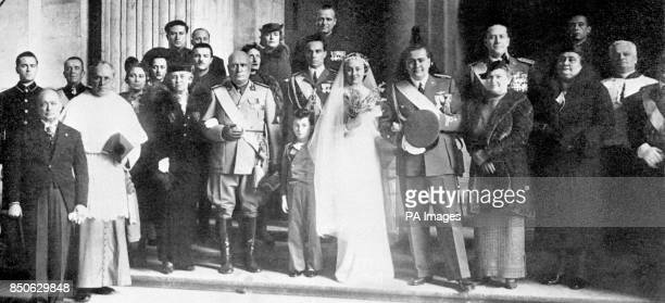 After the marriage ceremony in 1937 of Benito Mussolini's son Vittorio to Orsola Buvoli the family visited St Peter's in Rome Rachele Mussolini...