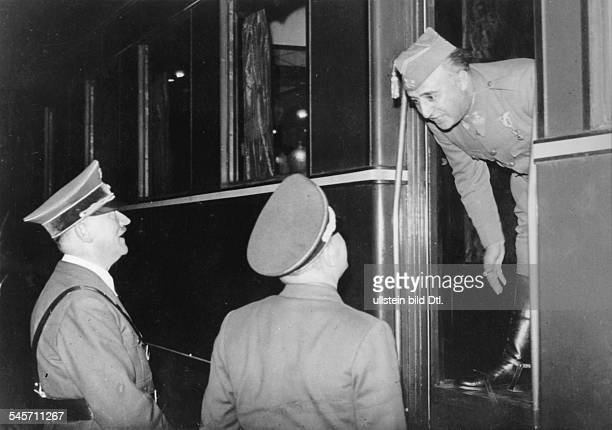 After the meeting at the French frontier station Adolf Hitler and Spain head of state FranciscoFranco y Bahamonde during the farewell Published by...
