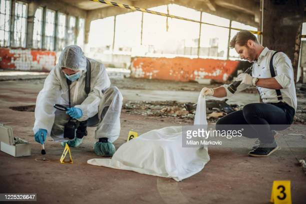 after the murder, criminal inspectors work at the crime scene - criminal investigation stock pictures, royalty-free photos & images