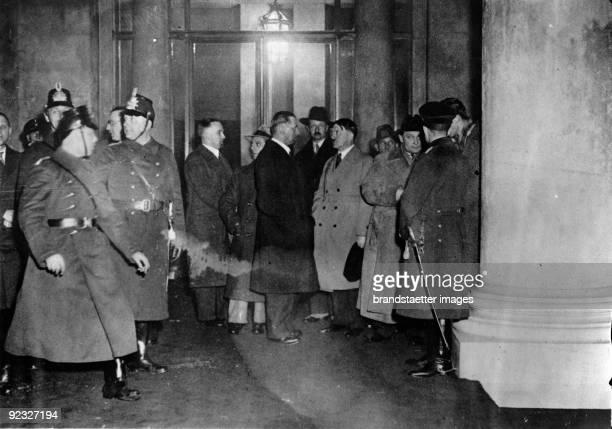After the notification of the Reichstag fire politicians appeared fltr Karl Hanke Joseph Goebbels Julius Schaub Prince August Wilhelm Adolf Hitler...
