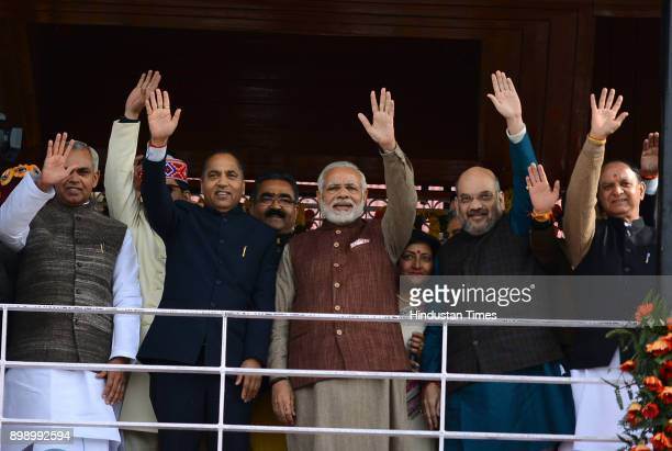 After the oath taking ceremony of chief minister of Himachal Pradesh Prime Minister Narendra Modi and BJP national president Amit Shah with chief...