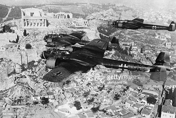 After the occupation of Athens by German forces: Do 17 Z bombers are flying over the Acropolis during a military parade