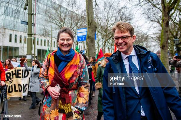 After the positive resolution in the Urgenda case Marjan Minnesma the director of the Urgenda campaign and Dennis van Berkel climate jurist...