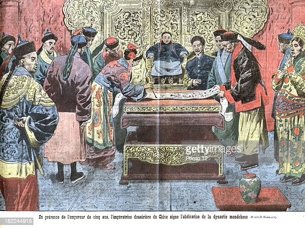 After the proclamation of the Republic of China the dowager empress in the presence of the 5yearold emperor sign the abdication of the Manchu Dynasty...