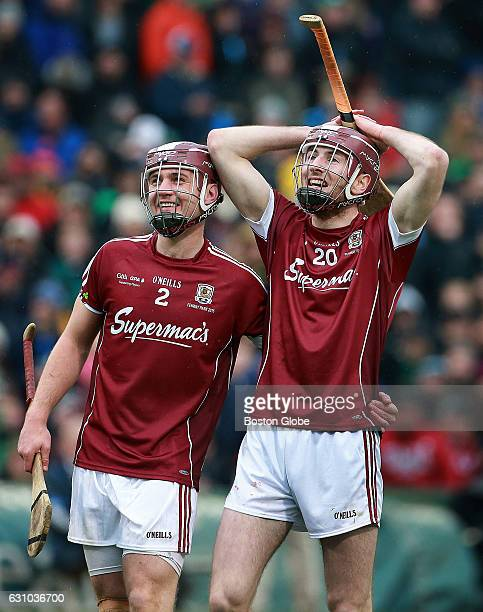 After the rather large second quarter fight involving most of the players on both teams Galway's Ronan Burke left and Padraic Mannion get a kick out...