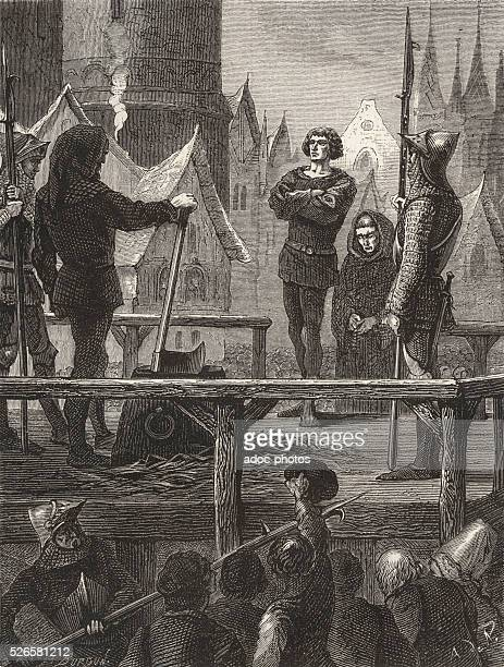 After the siege of the city of Rouen by King Henry V of England Captain Alain Blanchard comes to English to be beheaded In 1419 Engraving of the 19th...