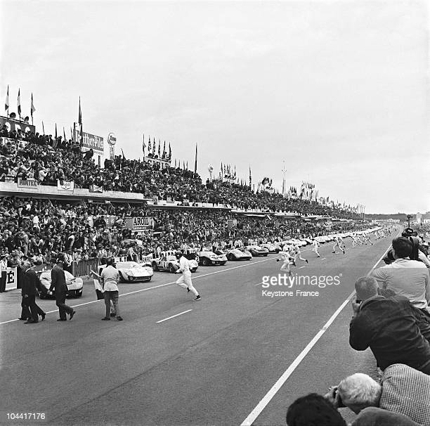 After the start the competitors rushing to their car for 24 hours of Le Mans June 18 1966